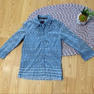 Vintage embroidered sky blue blouse Sz Xs